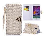Carryme Diamond series witte luxe booktype hoes Samsung Galaxy Note 4