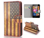 Carryme Amerikaanse vlag booktype hoes Nokia Lumia 530