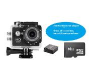 Lipa AT-62 Full HD action camera + 16 GB SD-kaart + 32 mounts+ waterproof case+ 12 MP + Wifi phone remote
