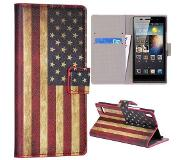 Carryme Amerikaanse vlag bookcase hoesje Huawei Ascend P6 / P6s