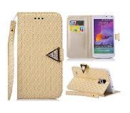 Carryme Diamond series gouden luxe booktype hoes Samsung Galaxy Note 4