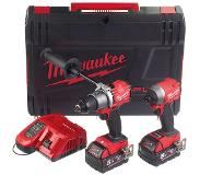 Milwaukee M18 FPP2A2-502X 18V Li-Ion accu klopboor-/schroefmachine (M18 FPD2-0) & slagschroevendraaier (M18 FID2-0) combiset (2x 5.0Ah) in HD Box