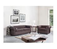 Beliani CHESTERFIELD Fauteuil Leer