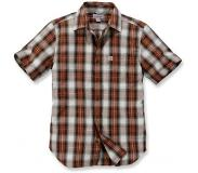 Carhartt Blouse Carhartt Men S/S Essential Open Collar Shirt Plaid Plaid Sequoia-M