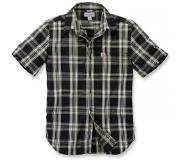 Carhartt Blouse Carhartt Men S/S Essential Open Collar Shirt Plaid Black-XL