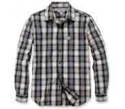 Carhartt Blouse Carhartt Men L/S Essential Open Collar Shirt Plaid Steel Blue-XL