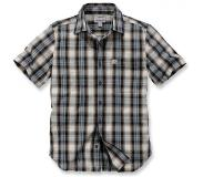 Carhartt Blouse Carhartt Men S/S Essential Open Collar Shirt Plaid Steel Blue-XXL