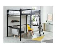 Vente-unique.be Hoogslaper CASUAL II - bed 140 x 190 cm - bureau - Antraciet