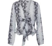 Missguided Blouse 'SNAKE PRINT TIE FRONT RUFFLE HEM BLOUSE'