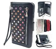HEM iphone 6/6S Plus Zwarte Glitter met sterren Wallet / Book Case /