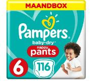 Pampers Baby-Dry Pants S6 116 Luierbroekjes Luchtdoorlatende Banen Maandbox