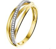 Trendjuwelier huiscollectie Ring Diamant 0.11ct H SI Bicolor Goud