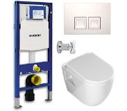 Geberit UP100 Toiletset - Inbouw WC Hangtoilet Rimfree Aloni met Bidetkraan - Delta-50 Wit