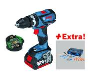 Bosch GSB 18V-60 C Professional Accuschroef klopboormachine 5.0Ah Li-ion + GCY 30-4 Professional + Gedore Set in L-Boxx