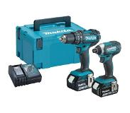 Makita DLX2131MJ 18V accu klopboormachine DHP482 + slagschroevendraaier DTD152 combiset (2x 4.0Ah accu) in Mbox