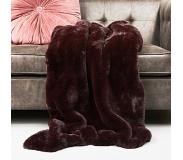 Riviera Maison Boutique Burgundy Faux Fur Throw (burgundy/bordeaux)