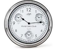 Riviera Maison World Cities Clock - Klok - Aluminium; Glas - Zilver; Wit