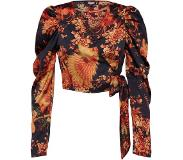 Missguided Blouse 'PUFF SLEEVE WRAP CROP TOP PRINTED'