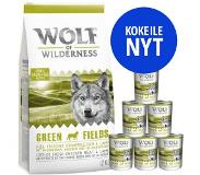 Wolf of Wilderness 12 kg Wolf of Wilderness Droogvoer + 6 x 400 g Natvoer gratis! - Adult Mix: Sunny Glade (met Hert) + Oak Woods (Wild Zwijn)