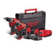 Milwaukee M12 FPP2A-602X Powerpack M12FPD Slagboormachine + M12FID Slagschroevendraaier 12V 6.0Ah 4933459810