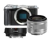 Canon *Canon EOS M6 zilver + 15-45mm IS STM zilver + EF-EOS M mount adapter