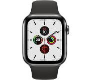 Apple watch series 5 gps + cell 44mm steel case black sport band