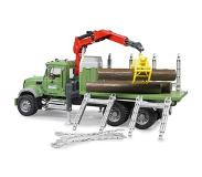 BRUDER MACK Granite Timber truck with loading crane and 3 trunks - 2824
