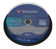 Verbatim 1x10 BD-R Blu-Ray 50GB 6x Speed, wit blauw Cakebox