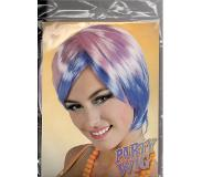 Party wig / pruik rose paars