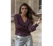 Colourful Rebel Elin Flower V-neck Blouse Red and Purple