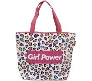 Arditex strandtas Girl Power meisjes 52 cm canvas roze/wit