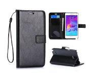 Carryme Zwart glad booktype hoesje Samsung Galaxy Note 4