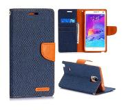 Carryme Canvas blauwe booktype hoes Samsung Galaxy Note 4