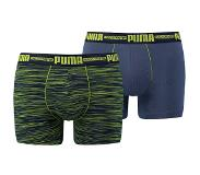 Puma SPACE DYE BOXERSHORTS 2-PACK BLUE, LIME (Blauw, Geel, Small)