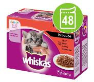 Whiskas 96 x 100g Junior Maaltijdzakjes Vis in Gelei Whiskas Kattenvoer