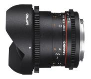 "Samyang 8mm T3.8 VDSLR UMC Fish-eye CS II, Four Thirds SLR Groothoeklens type ""fish eye"" Zwart"