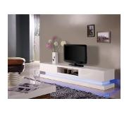 Vente-unique.be Tv meubel FIRMAMENT - Wit gelakt MDF - Leds - 2 deuren en 1 nis