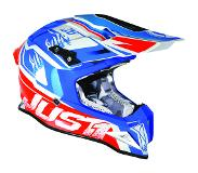 JUST1 J12 Dominator Wit Rood Blauw Crosshelm - Motorhelm - Maat XL